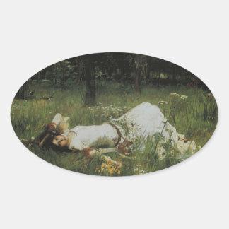 Ophelia [John William Waterhouse] Oval Sticker