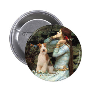 Ophelia Seated - Wire Fox Terrier 3 6 Cm Round Badge