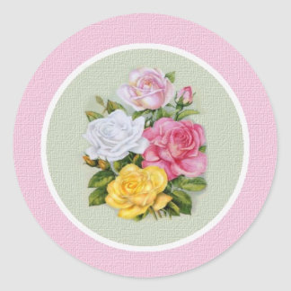 Ophelia Vintage Roses Envelope Seal Round Sticker