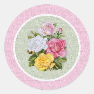 Ophelia Vintage Roses Envelope Seal Round Stickers
