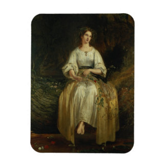 Ophelia weaving her garlands, 1842 (oil on panel) rectangular photo magnet