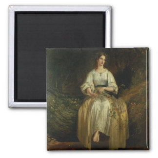 Ophelia weaving her garlands, 1842 (oil on panel) refrigerator magnets