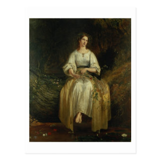 Ophelia weaving her garlands, 1842 (oil on panel) postcard