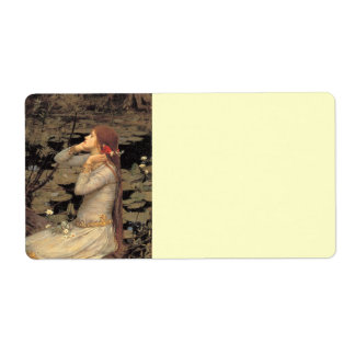 Ophelia with Streaming Red Hair Shipping Label