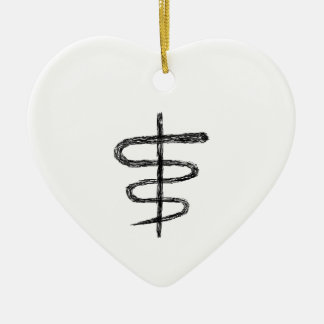 Ophiuchus. Astrological Zodiac Sign. Black. Ceramic Heart Decoration