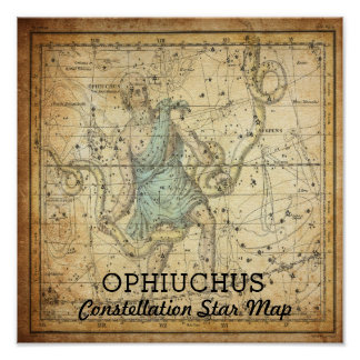 Ophiuchus Constellation Star Map Serpens Poster