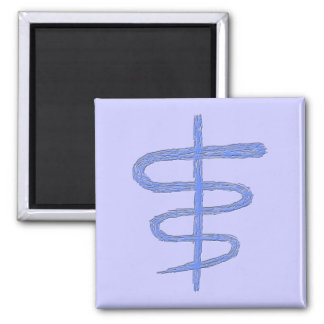 Ophiuchus. Zodiac Sign in Blue. Square Magnet