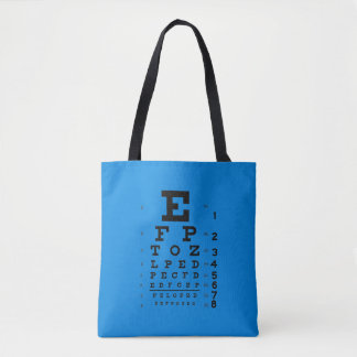 Ophthalmology Eye Chart Retro Science Pop Art Blue Tote Bag