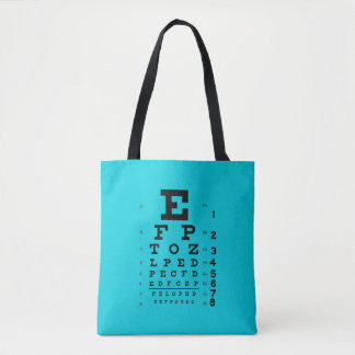 Ophthalmology Eye Chart Science Pop Art Blue Tote Bag