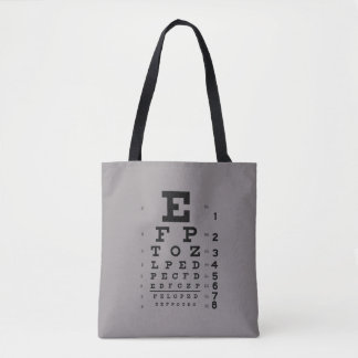 Ophthalmology Eye Chart Science Pop Art Gray Tote Bag