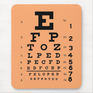 Ophthalmology Optometry Medical Eye Chart Apricot Mouse Pad