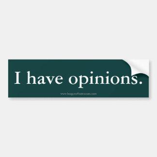 """""""Opinions"""" bumper sticker"""