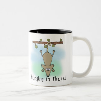 Opossum Hanging in There Two-Tone Coffee Mug