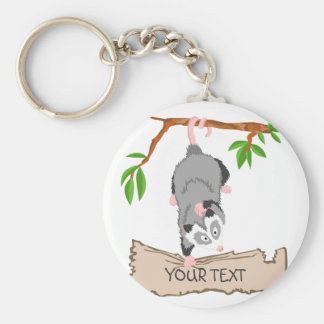 Opossum with sign basic round button key ring