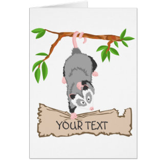 Opossum with sign card