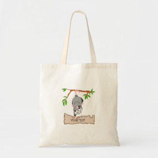 Opossum with sign tote bag