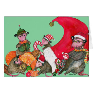 Opossums feasting on Christmas Goodies Card