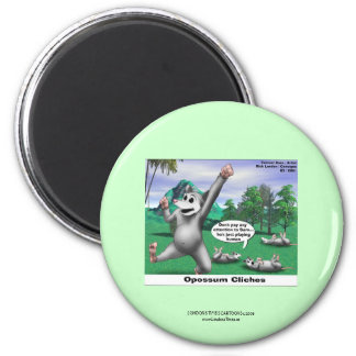 OPossums Playing Dead Cartoon Funny Magnet Fridge Magnet