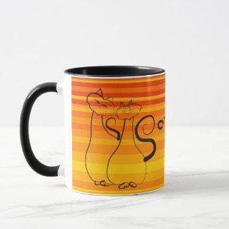 Opposites Contrast Black Yellow Stripes Cats Bold Mug