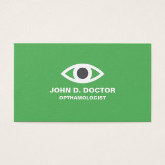 Opthamologist or optometrist green business card