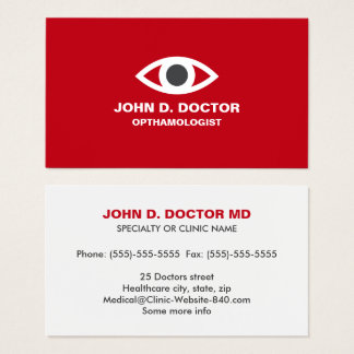 Opthamologist or optometrist red business card