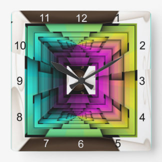 Optical Colors Square Wall Clock
