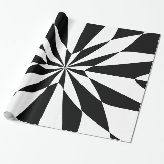 Optical Flower Black & White Wrapping Paper