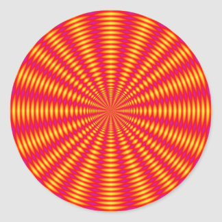 Optical illusion abstract design. classic round sticker