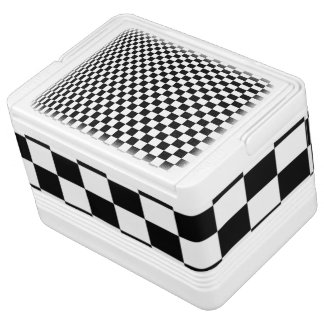 Optical Illusion Black and White Checkers Cooler