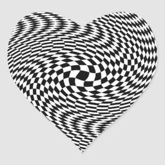 Optical Illusion Black and White Heart Sticker