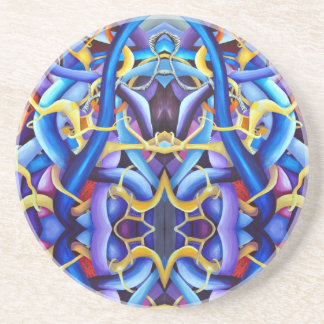 Optical illusion  blue coaster