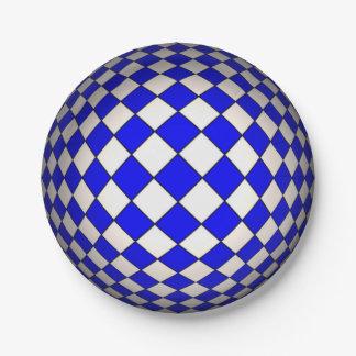 Optical Illusion Blue & White Sphere Paper Plates