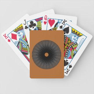 Optical illusion circle on burnt orange bicycle playing cards