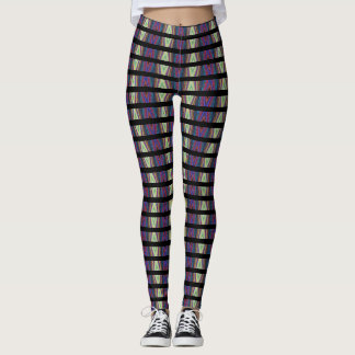 Optical Illusion Leggings- Multi-color/black lines Leggings