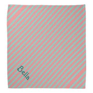Optical Illusion Mint Green & Salmon Pink Stripes Bandana