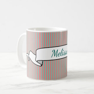 Optical Illusion Mint Green & Salmon Pink Stripes Coffee Mug