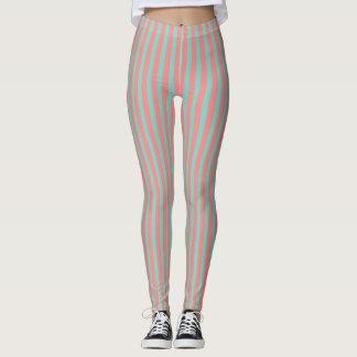 Optical Illusion Mint Green & Salmon Pink Stripes Leggings
