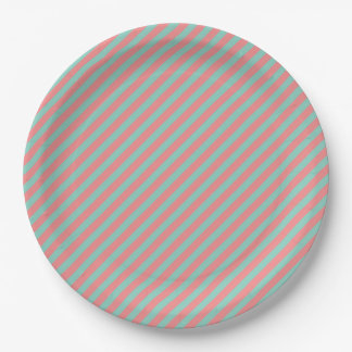 Optical Illusion Mint Green & Salmon Pink Stripes Paper Plate