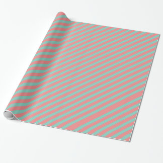 Optical Illusion Mint Green & Salmon Pink Stripes Wrapping Paper