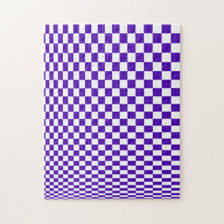 Optical Illusion Purple and White Checkers Jigsaw Puzzle