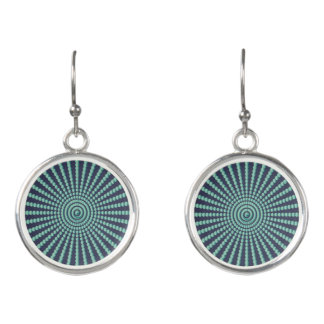 Optical illusion spiral circles earrings