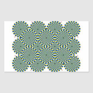 Optical Illusion Wheels Rectangular Stickers