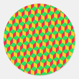 Optical illusion - yellow/talk/green classic round sticker