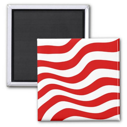 Optical Illusion: Zany Wavy  Red and White Stripes Magnet