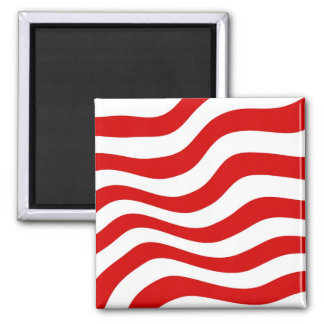 Optical Illusion: Zany Wavy  Red and White Stripes Square Magnet