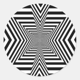 Optical Illustion, Trick the Eye, Black n White Classic Round Sticker