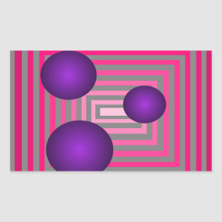 Optical Pink Purple Grey Art Illusion Rectangular Sticker