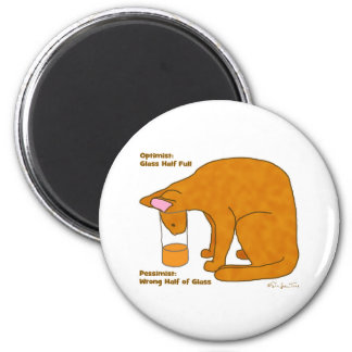 Optimist Pessimist Cat 6 Cm Round Magnet