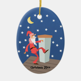 "Optional ""Add Text"" Funny Santa on Roof Ceramic Oval Decoration"