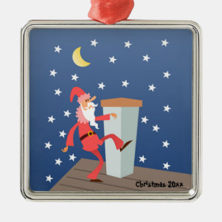 "Optional ""Add Text"" Funny Santa on Roof Silver-Colored Square Decoration"
